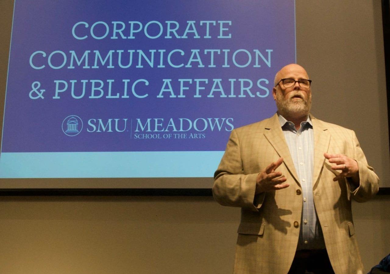 Dr. Owen Lynch speaks to the SMU CCPA Advisory Board