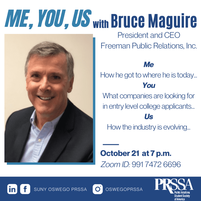 PRSSA SUNY Oswego hosts Freeman PR President and CEO this Wednesday, Oct. 21 at 7 pm. All students and professionals are welcome to attend the virtual event.
